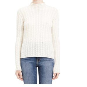 Theory Beige Cable Mock Neck Cashmere Sweater NWT